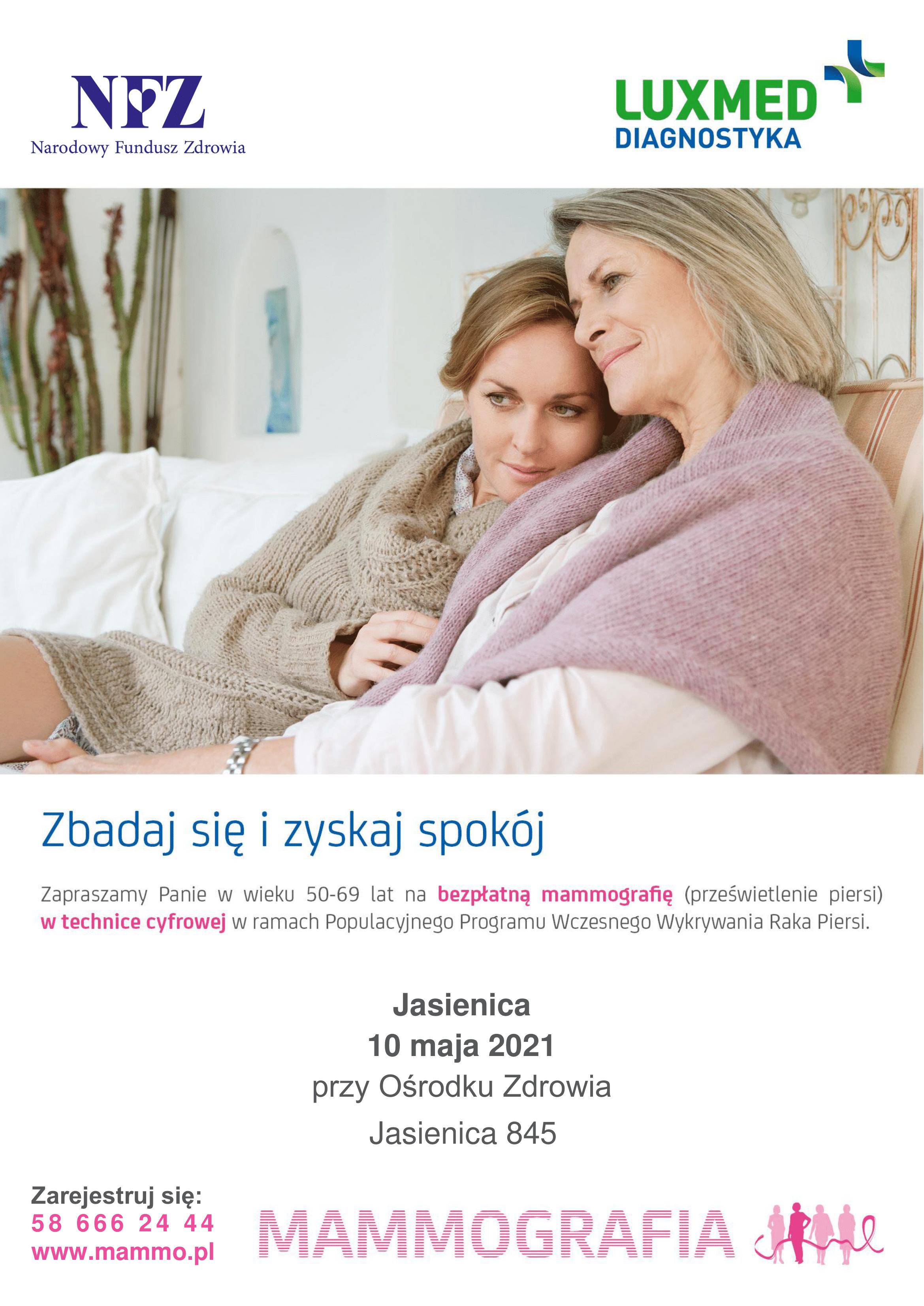Plakat informujący o bezpłatnej mammografii dla kobiet.
