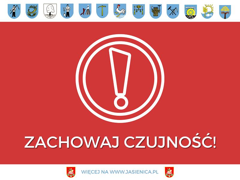 Plakat z herbami wszystkich sołectw w gminie Jasienica z napisem Zachowaj czujność!